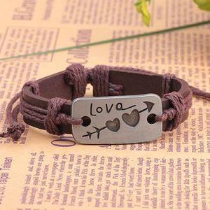 Brown Leather Love Engraved Tag Pendant Bracelet